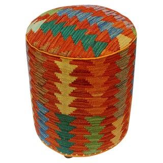 Arshs Cyndi Rust/Green Kilim Upholstered Handmade Ottoman