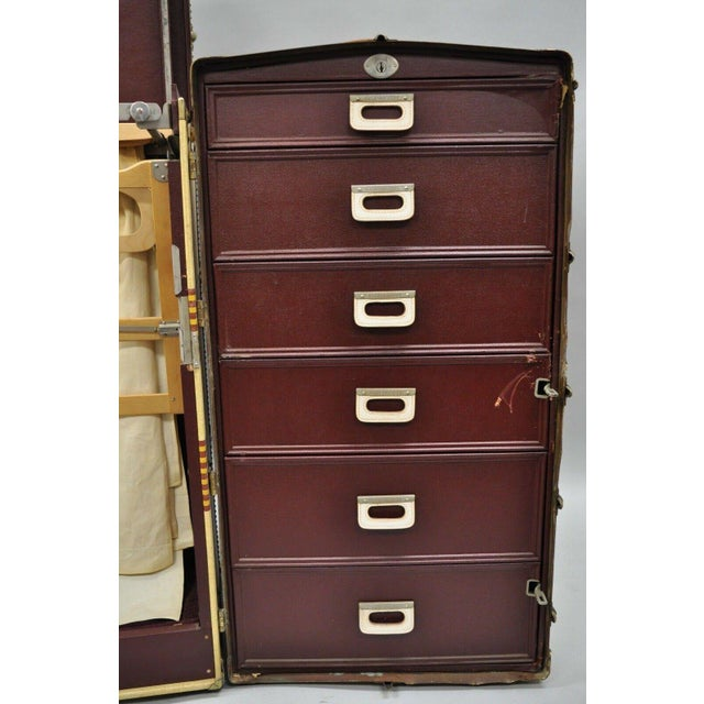 Tan 1930s Traditional Oshkosh the Chief Wardrobe Steamer Trunk For Sale - Image 8 of 13