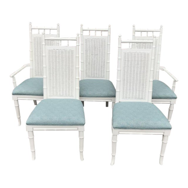 White Lacquered Faux-Bamboo Wicker Back Vintage Dining Chairs - Set of 5 For Sale