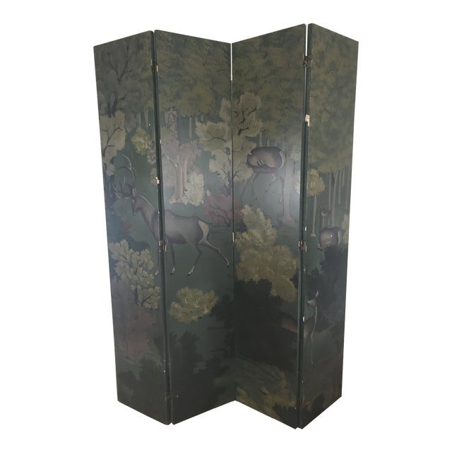 Painted Four Panel Screen With Landscape and Deer For Sale