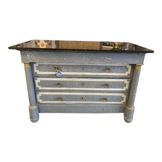 19th Century French Empire Neoclassical Painted Commode For Sale