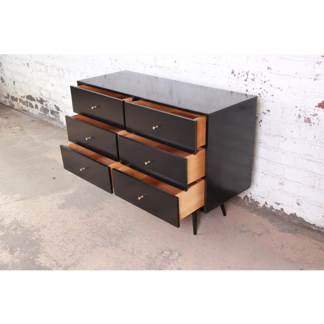 Metal Paul McCobb Black Lacquered Planner Group Six-Drawer Dresser For Sale - Image 7 of 12