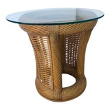 Image of 1980s Boho Chic Cane and Rattan Side Table For Sale