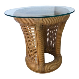 1980s Boho Chic Cane and Rattan Side Table For Sale