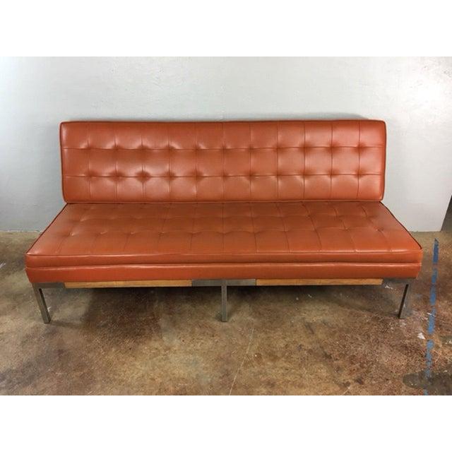 mid century modern chrome legs sofa chairish. Black Bedroom Furniture Sets. Home Design Ideas