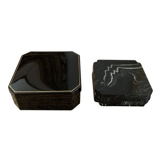 Vintage Japanese Set of Boxed Faux Marble Lacquered Coasters - Set of 4 For Sale