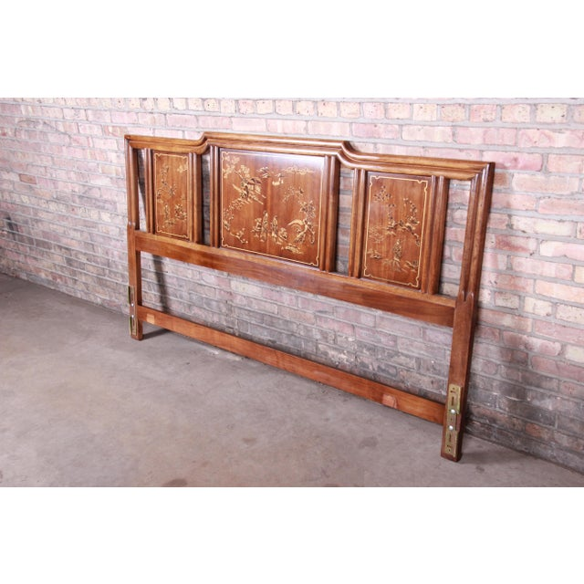 "An exceptional Hollywood Regency Chinoiserie king size headboard By Drexel Heritage ""Dynasty Collection"" USA, Circa 1970s..."