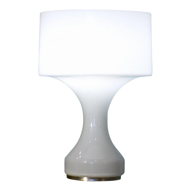 Glass White Opal Crystal Hand Blown Glass Enrico Capuzzo Sebenica Lamp for Vistosi, Circa 1965 For Sale - Image 7 of 7