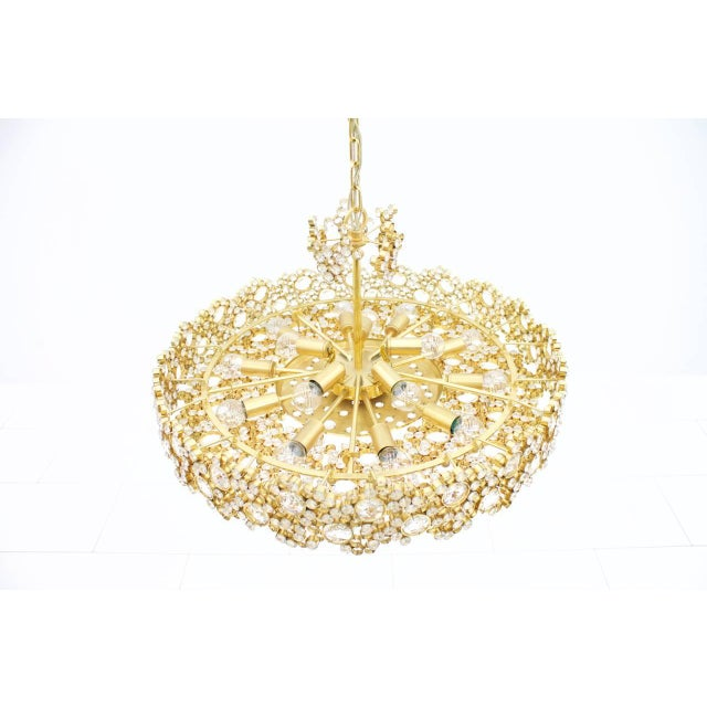 Palwa Large Gilded Brass and Crystal Glass Chandelier by Palwa, Germany 1960s For Sale - Image 4 of 11