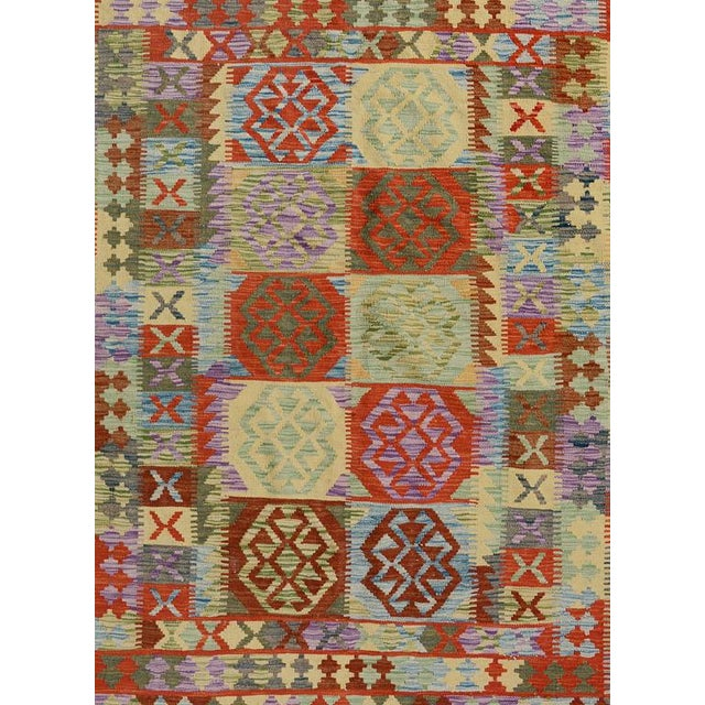 Boho Chic Arya Stan Blue/Gray Wool Kilim Rug - 4'10 X 6'7 A9264 For Sale - Image 3 of 7