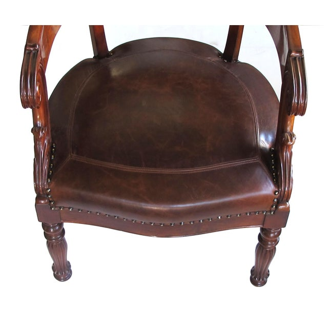 French Restoration Carved Mahogany Barrel-Back Desk Chair With Acanthus Leaves For Sale In San Francisco - Image 6 of 9