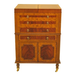 1990s Vintage Maitland-Smith Flip Top Mahogany Bar Cellerate Cabinet