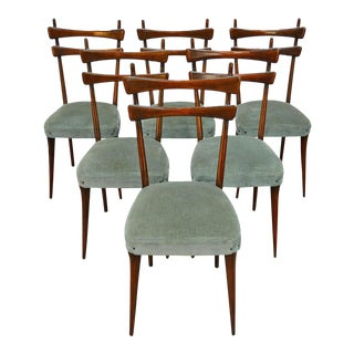 Set of Six Dining Chairs in Velvet by Vittorio Dassi For Sale