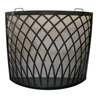 Contemporary Metal Weave Fireplace Screen For Sale