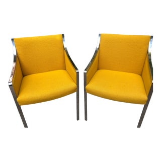 1970s Vintage Mid Century Stow & Davis Chrome and Yellow Upholstered Armchairs - a Pair For Sale