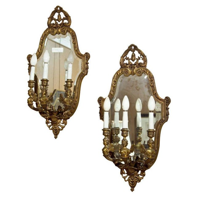Neoclassical Bronze Wall Sconces - Pair For Sale