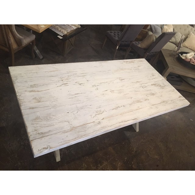 Shabby Chic White Distressed Farmhouse Dining Table For Sale In Chicago - Image 6 of 10