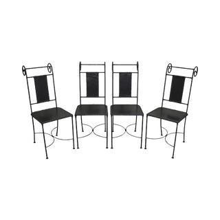 Wrought Iron & Leather Dining Chairs - Set of 4