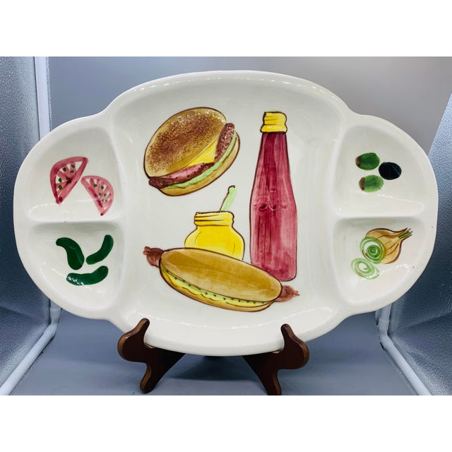 Los Angeles Potteries Bbq Grill Sectional Platter/ Vintage Hamburger and Hot Dog Serving Plate For Sale - Image 11 of 11