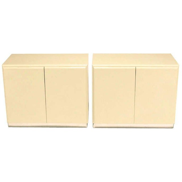 Mid-Century Modern Milo Baughman Ivory Lacquer and Chrome, Two-Door Cabinets With Corner Pedestal For Sale - Image 3 of 9