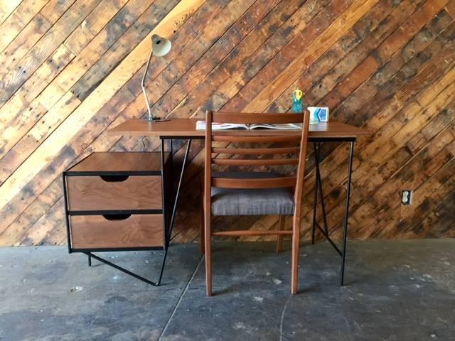 Attrayant Walnut Custom Mid Century Style Walnut Wrought Iron Desk For Sale   Image 7  Of