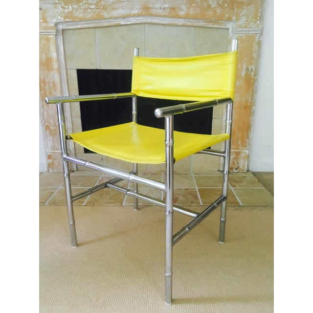 Mid-Century Chrome Arm Chair in Yellow - Image 2 of 8