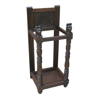 Antique English Oak Gothic Umbrella Cane Stick Stand Hall Tree For Sale