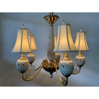 Brass and Ceramic Five Light Chandelier by Lenox Preview