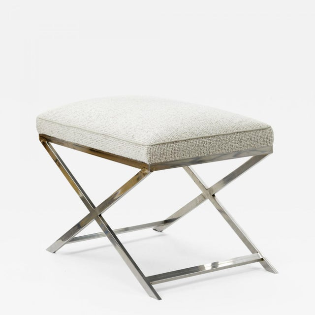 Fabric X Shaped Steel Stool Newly Covered in Maharam Cloth For Sale - Image 7 of 7