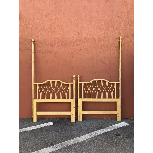 1960s 1960s Hollywood Regency Ficks Reed Twin Faux Bamboo Headboards - a Pair For Sale - Image 5 of 5