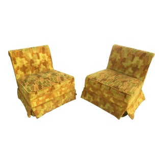 Mid-Century Puzzle Piece Slipper Chairs - A Pair