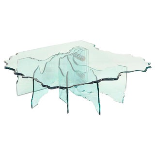 Huge Crystal Cut Glass Shell Coffee Table by Danny Lane for Fiam For Sale