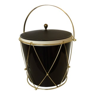 Mid-Century Modern Thermos Insulated Drum Ice Bucket With Gold Handled Carrying Cage For Sale