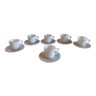 Milk Glass Demitasse Cups & Saucers - Set of 12