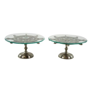Glass Top Ship Wheel Platters - A Pair