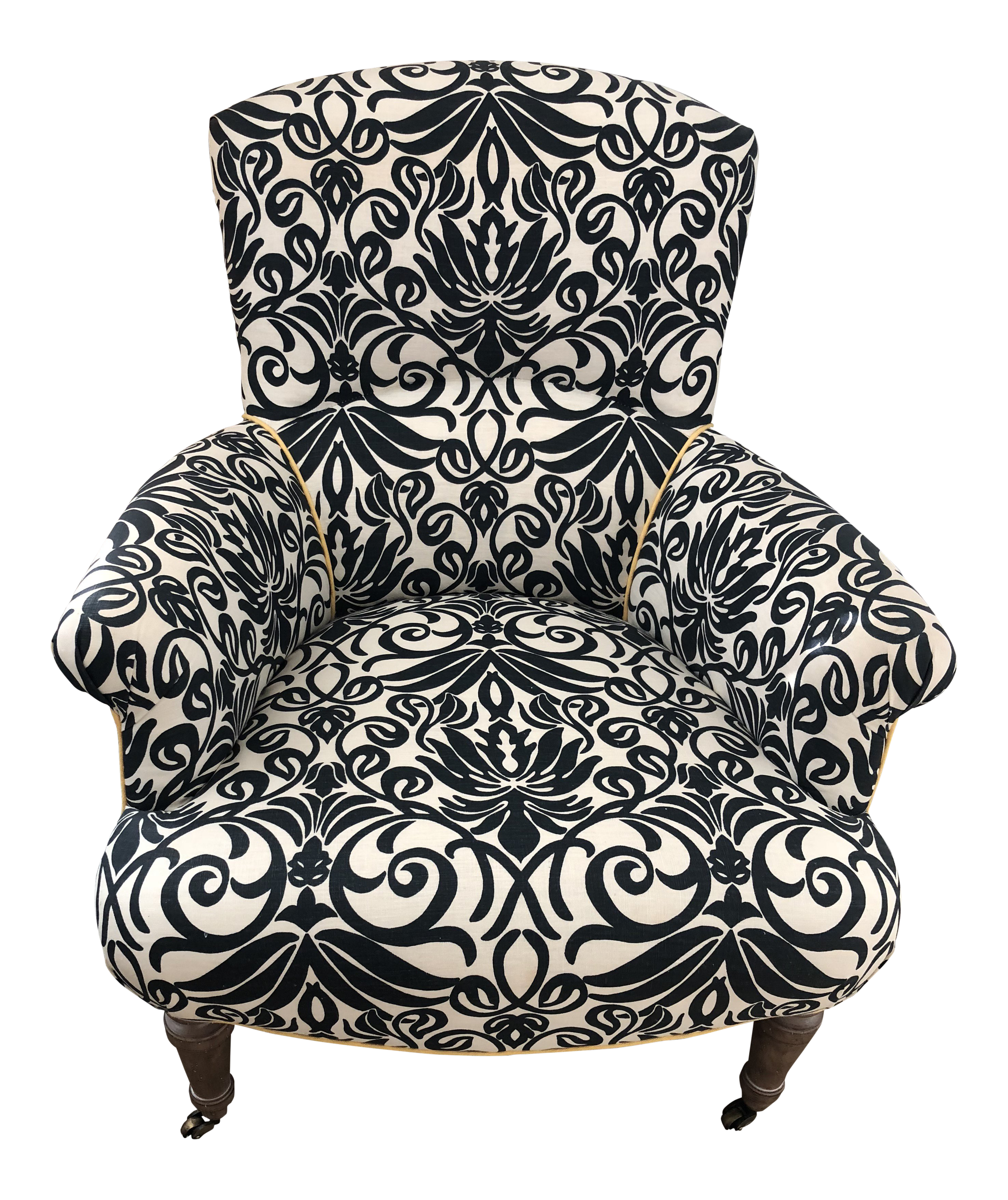 Lee Industries Navy Blue Pattern Linen Upholstered Chair For Sale