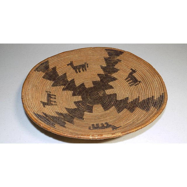1930s Antique Native American Apache Woven Polychrome Horses Basket Bowl For Sale - Image 5 of 10