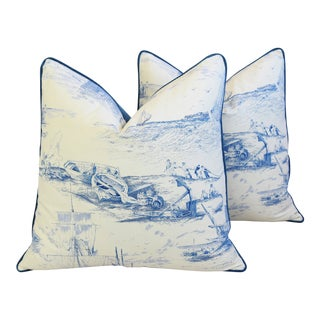 """French Blue & White Nautical Feather/Down Pillows 24"""" Square - Pair"""