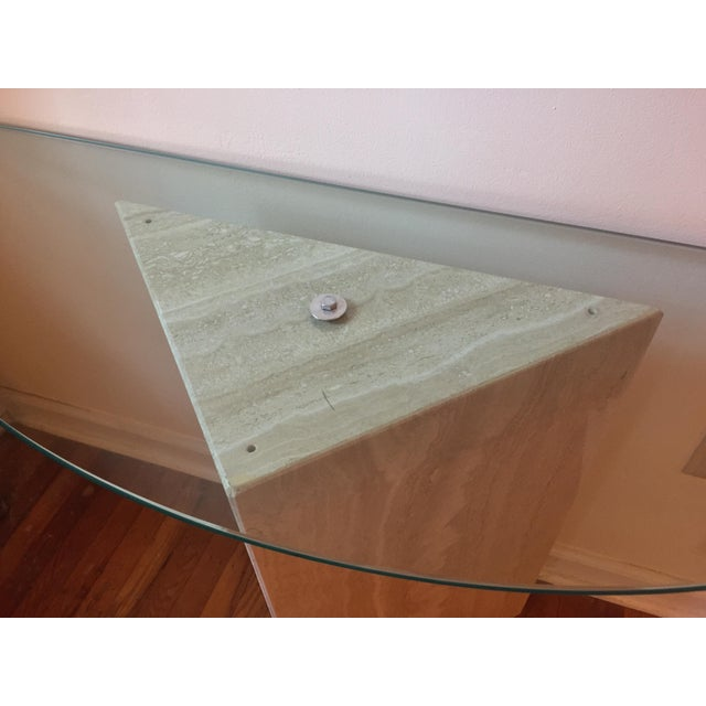 1980s Postmodern Geometric Travertine and Glass Console Table For Sale - Image 11 of 11