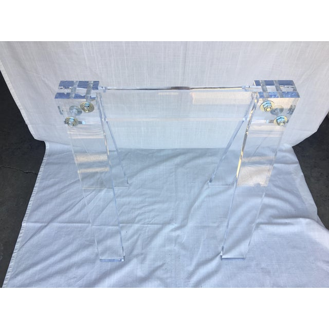 """Lucite Saw Horse Blanket Rack. Measures 29"""" tall x 15"""" wide x 24"""" long. Lucite is 1"""" thick. In found vintage condition...."""