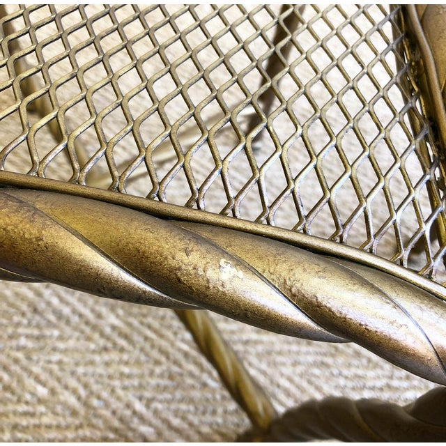 Gold Pair Napoleon III Style Gilt Rope & Tassel Metal Side Chairs For Sale - Image 7 of 10