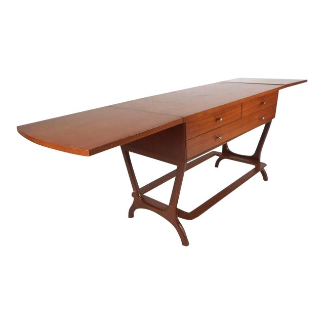RWAY Mid-Century Modern Drop-Leaf Console Table For Sale