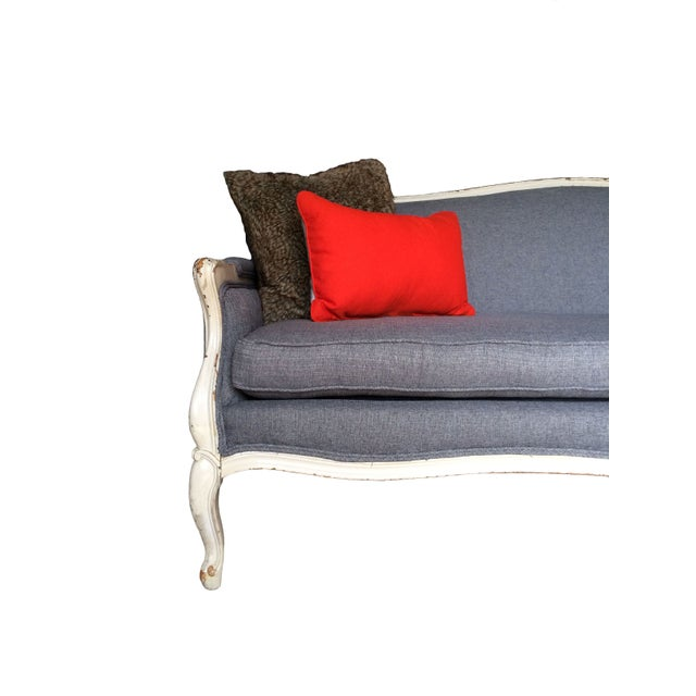 Vintage French Provincial Sofa in Grey For Sale - Image 4 of 6