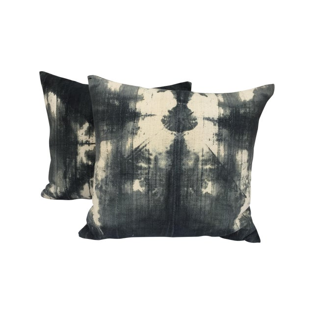 African Grey Tie Dye Mud Cloth Pillows - A Pair - Image 1 of 5