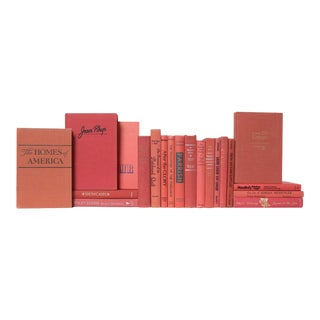 Mid 20th Century Peachy Pink Book Set of Books For Sale
