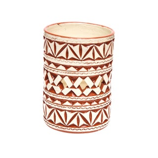 Moroccan Hand Painted White Ceramic Tealight Holder For Sale
