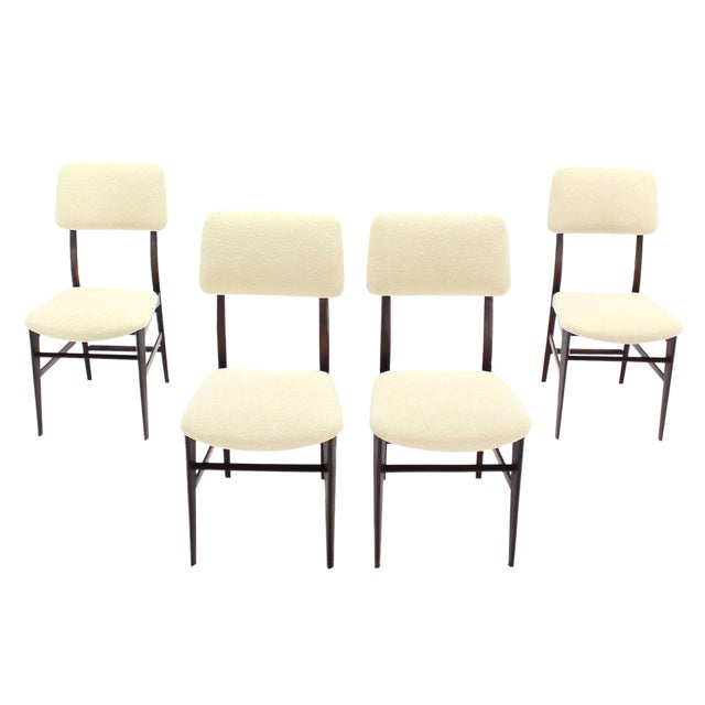 Set of Four Italian Modern Walnut Dining Chairs New Upholstery For Sale