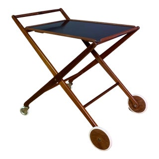 1970s Teak and Black Laminate Cart For Sale