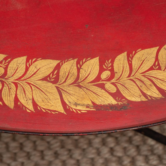 Mid 20th Century Red Tole Table with Decorative Oval Top and X-Frame Base For Sale - Image 5 of 9