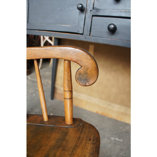 19th Century 19th Century Antique Chestnut Windsor Comb Back Rocking Chair For Sale - Image 5 of 13